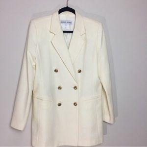 Vintage ivory white double breasted blazer size 8